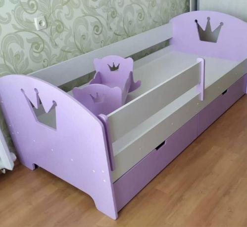Детская кровать Короны, кровать в детскую, дроп