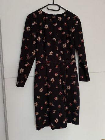 Sukienka Reserved Kwiaty Czarna S