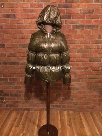 Oliwkowa kurtka na zimę pikowana hit