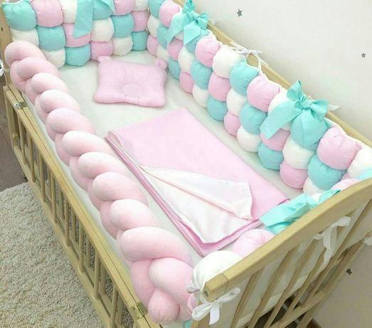 Детская постелька, бортики, защита, конверт, зефирные бортики