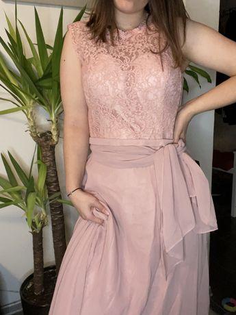 Sukienka balowa Mascara ślub puder róż roz XL 42 nowa z metką długa