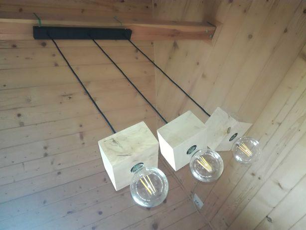 Lampa drewniana loft E27