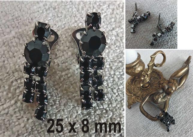 klipsy srebrne z czarnymi cyrkoniami