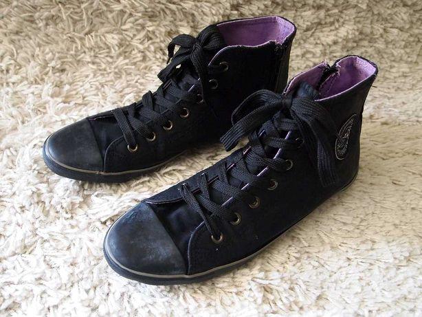 Czarne trampki do kostki na zamek 38  buty sportowe jak Converse