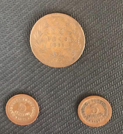 Moeda XX reis 1883 e 2 moedas 5 centavos 1924 e 1927