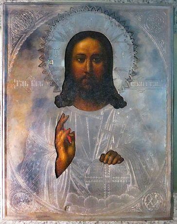 икона Вседержитель в серебряном окладе