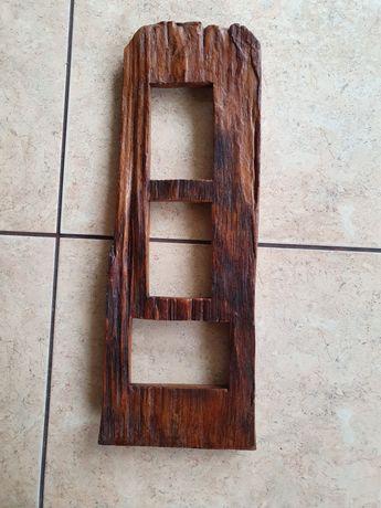 Ramka na 3 zdjęcia z drewna