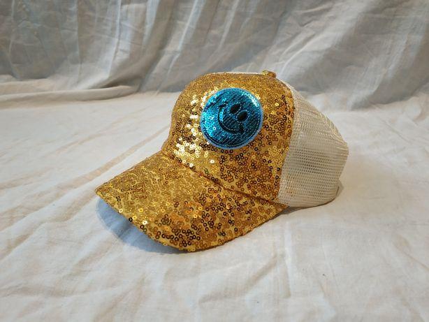 Czapka z daszkiem bling złota cekiny