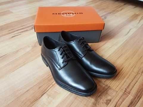 pantofle czarne skórzane 33