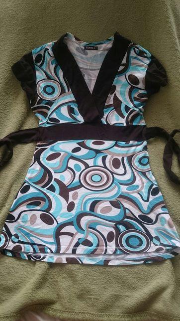 Tunika bluzka ciążowa brązowo turkusowa M