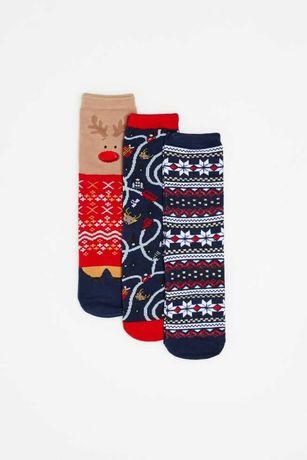Крутые новогодние носки 3 штуки в подарочной упаковке Польша новый год