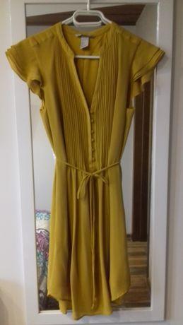 sukienka letnia, żółta, musztardowa H&M r.34