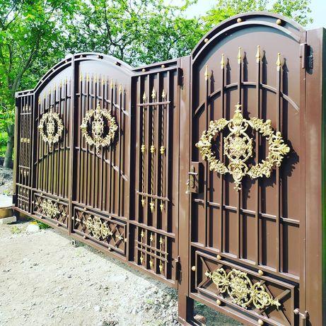 Ворота, кованые, распашные, забор жалюзи, калитка с профлистом