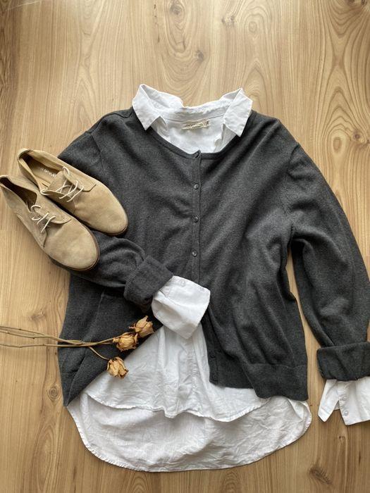 Sweter H&M basic szary i bordowy r. XL Mikołajewo - image 1