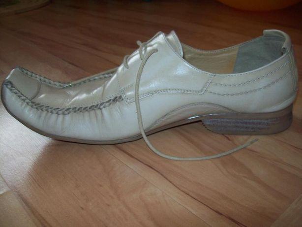 pantofle, buty, ślubne skórzane DOMENO wizytowe, rozm 45