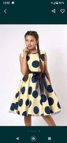 Нарядное платье для девочки в горох в стиле стиляги,ретро.