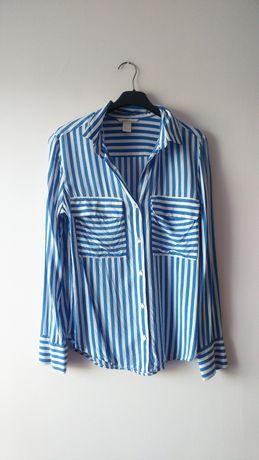 H&M koszula w paski niebiesko biała kieszenie Basic wiskoza oversize