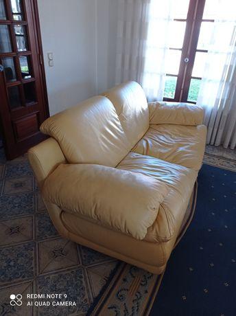 Sofa em pele amarela