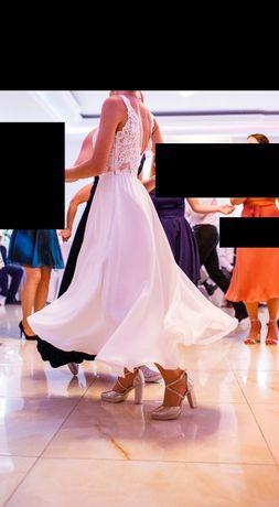Suknia ślubna rozmiar 36 styl rustykalny, odcień bieli-śmietana