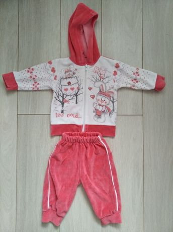 Велюровый костюм для дівчинки. Теплий костюмчик