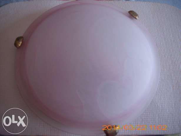 Candeeiro de tecto em vidro rosa