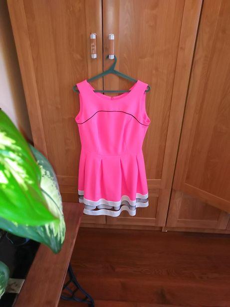 Piękna neonowy róż sukienka XL,