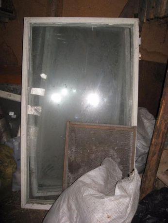 Деревянная оконная рама большого размера, стекло, б/у, ОБМЕН