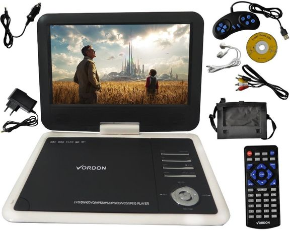 Przenośne DVD VORDON 10,2' USB SD Konsola GRA AV d Auta Domu Wakacje