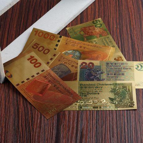 Гонконг доллар золотая банкнота купюра дракон феникс цилинь карп 6штук