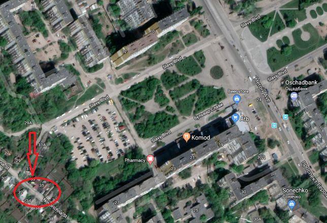 Участок красной линии с видом на бульвар Славы. Под застройку