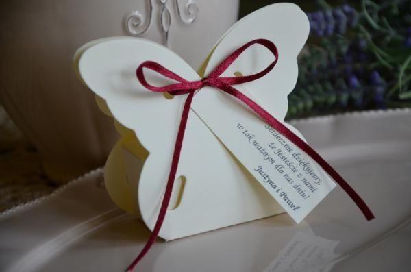 Podziękowania dla gości komunia ślub krzesełka motylki