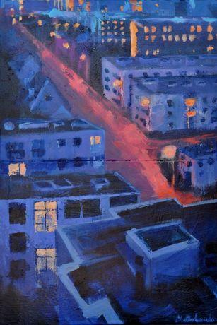 Obraz malarstwo akryl na płótnie miasto nocą