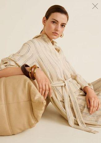 Платье рубашка Mango новое! макси миди размер S(M)  песочный, бежевый