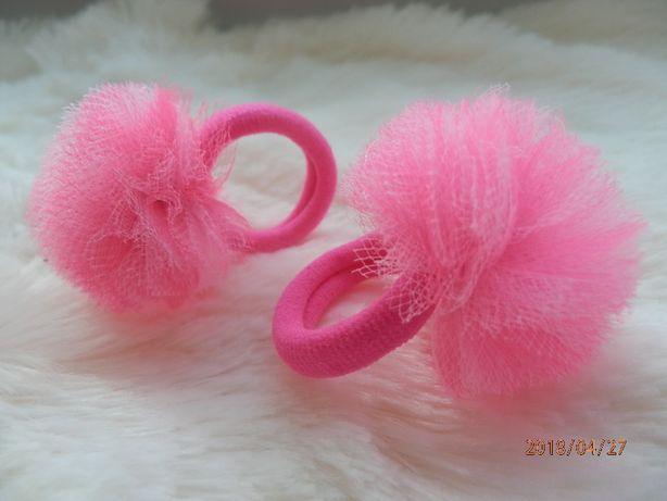 spinki i gumki do włosów, śliczne, pompony, tiul, rękodzieło