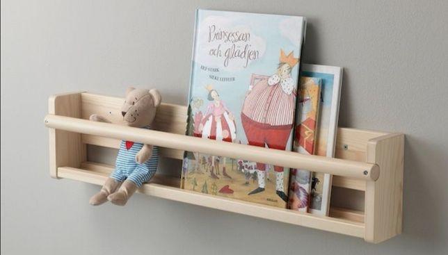 Półka wisząca,  drewno, wieszaki. Dla Dzieci