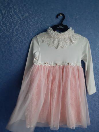 Платье пышное розочки с фатином с шубкой деми зима на 5-6лет
