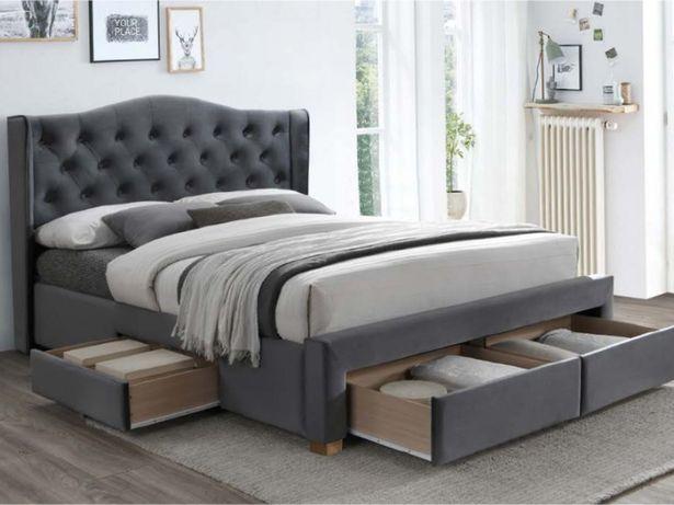 Łóżko 160 cm z szufladami ASPEN II Velvet szare w niższej cenie NOWE