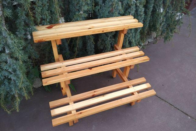 Stojak na doniczki drewniany (handmade)