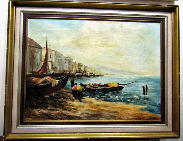 Картина холст/масло 96 см. х 76 см. Морской пейзаж подпись автора