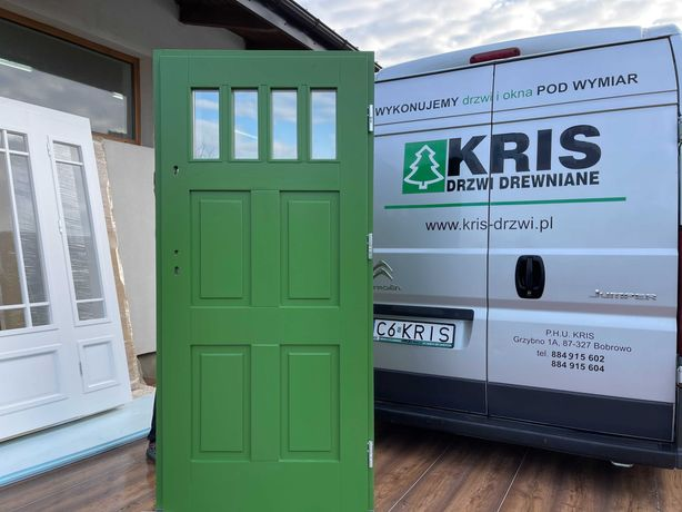 Drzwi zewnętrzne drewniane ocieplane  zielone CAŁA POLSKA