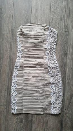 sukienka beżowa matmazel r 36 jak nowa