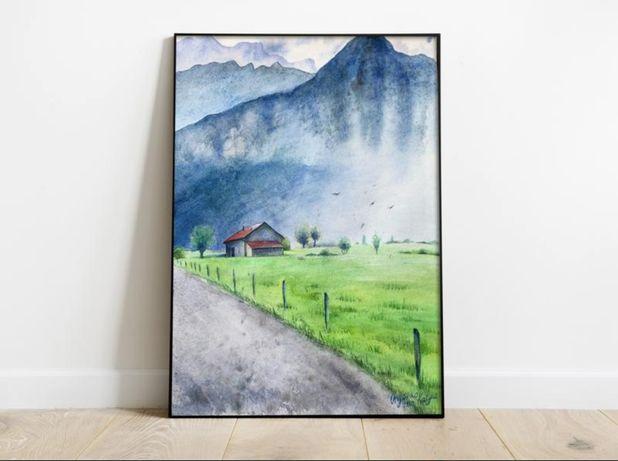 Интерьерная Картина акварелью Домик на фоне гор в Швейцарии - пейзаж