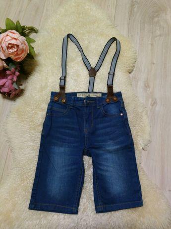Шорти з підтяжками джинсові