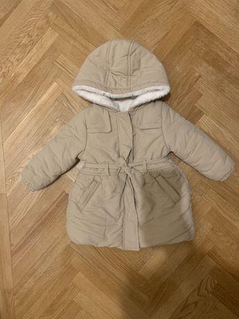 Kurtka zimowa dziewczęca płaszczyk beżowy rozmiar 80