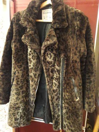 Женская искусственная шуба под леопарда Pull & Bear