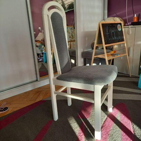Krzesła drewniane - tapicerowane biało-szare - Komplet