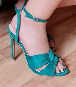 Sandałki szpilki wysokie 11cm zielone nowe Fashionnova USA rozmiar 37
