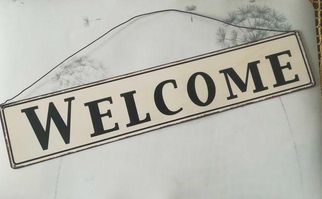 Metalowa tabliczka vintage -  welcome