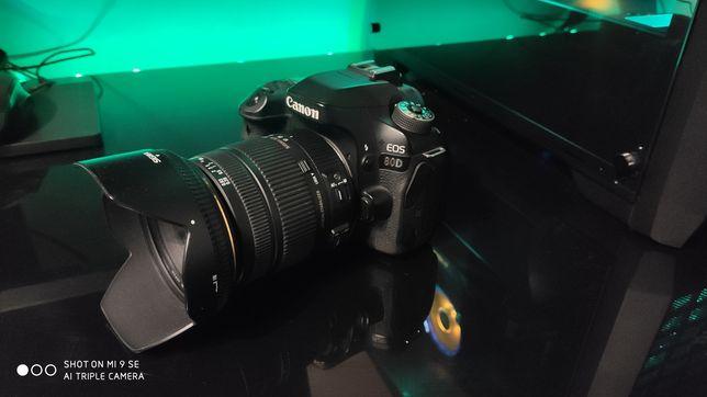 Canon 80d z obiektywem sigma 17-50 2.8 nowy plus filtr szkło ma ekran