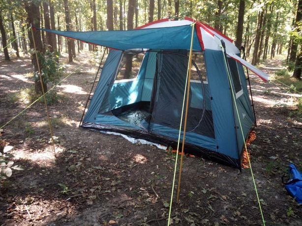 Палатка кемпинговая 6 местная 300x220x1,95 см, с козырьком. АКЦИЯ